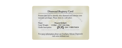 Diamond Registry Card